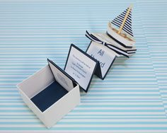 3D invitations for a nautical wedding. We could make them into a bridal shower theme