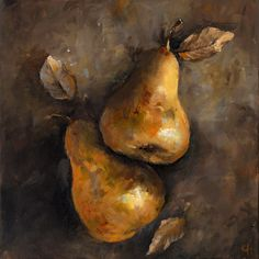 Two Golden Pears  Canvas or Paper Print of an by ArtPaperGarden, $24.00