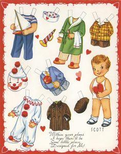 Cut out the boy and dress him #worksheet #vintage #boy