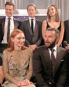 Poldark cast having a laugh at the BAFTAs.