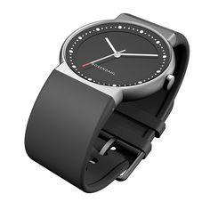 Watch IV,mat steel, black PU strap, black dial, Rosendahl