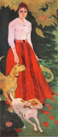 Pierre Bonnard - Mlle. Andree Bonnard with her Dogs