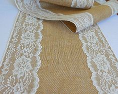 Camino de mesa de boda rústica arpillera tabla corredor con la decoración de boda romántica rústica estilo vintage marfil encaje