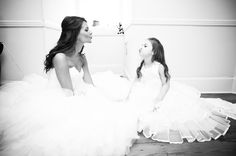 Cute photo of bride and flower girl.