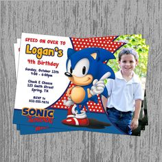 Sonic the Hedgehog 5x7 Custom Birthday by LastingMomentsDesign, $8.00