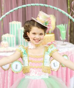 Circus Top Hat in Mint Green Pale Pink and Gold Ring Mistress Costume by EllaDynae, $48.00 #halloween