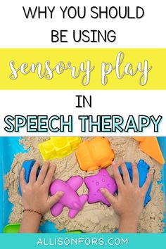 Sensory play in speech therapy! Use sensory bins, sensory bottles, and more to stimulate language, social skills, and motor skills. #sensoryprocessingdisorder #autism #speechtherapy #sensoryplay