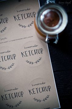 Tomato Rhubarb Ketchup is a perfect homemade sauce to celebrate the season. Rhubarb adds a tangy sweetness. Tomato Ketchup Recipe, Homemade Ketchup, Homemade Sauce, Printable Labels, Free Printables, Food Mills, Rhubarb Recipes, Kitchen Twine, Favorite Recipes