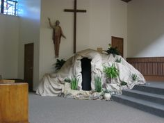 My hubby and I 'built' this life-size 'tomb from a deconstructed refrigerator box, some chicken wire, gorilla tape and burlap....we were very please with the result...see other photos of the tomb during various times of day and night!
