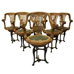 1stdibs | Set of Six Antique Oak Ships Dining Chairs