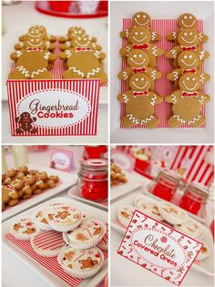 Christmas Candyland Red and white holiday party gingerbread cookies Christmas Gingerbread, Christmas Candy, Christmas Treats, Christmas Cookies, Kids Christmas, Gingerbread Cookies, Chrismas Cake, Office Christmas, Christmas Kitchen