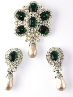 Vintage Signed Weiss Emeral Cabochon Dangle Pearl Brooch Earring Set #Weiss