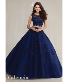 Navy Blue Two-Piece Quinceanera Dresses with Beaded Appliques Lace 2016 Princess Quinceanera Dress Long Sweet 16 Ball Gowns#89088
