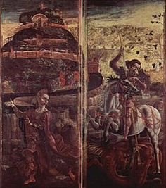 Cosmé Tura Le ante dell'organo del duomo di Ferrara sono quattro pannelli dipinti a tempera su tela (349x152 cm ciascuno) da Cosmè Tura nel 1469 e oggi conservati nel museo della cattedrale a Ferrara. Originariamente erano decorate fronte-retro (oggi i dipinti sono separati), presentano San Giorgio e la principessa (ante chiuse) e l'Annunciazione (ante aperte). -  Ante dell'organo del duomo di Ferrara