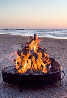 Beach bonfire at sunset...lovely!