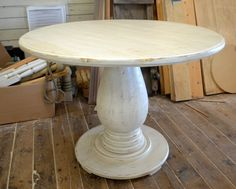This listing is for a 42-inch pedestal table with a distressed ivory finish and it is 30 inches tall. The top of the table is a solid 1-1/2 inch thick and the pedestal is approx 12 in diameter. *If this is not exactly what youre looking for, I can build this to your specifications; color and size. Please contact me for a special order price quote.*  ***Each one of my handcrafted items is MADE TO ORDER, please contact me for turnaround times.***  **Shipping to the continental US has been ...