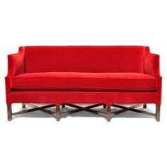 "Check out this item at One Kings Lane! Bowery 72"" Velvet Settee, Crimson"