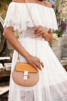 VivaLuxury - Fashion Blog by Annabelle Fleur: SANTA BARBARA WINE TASTING - ASOS Darccy vintage boho lace faff the shoulder dress | CHLOE Mini Drew shoulder bag | CHLOE Carlina 60mm oversized sunglasses | J CREW studded lace-up gladiator sandals | WANDERLUST & CO Trio Stack ring set July 13, 2015