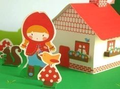 Little Red. Paper House Set from marialunate etsy shop