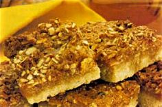 Almond Slices -   For pastry:   125g/4oz Odlums Cream Plain Flour   50g/2oz Margarine or Butter   Pinch of Salt   Cold Water   For topping:   175g/6oz Odlums Porridge Oatflakes   125g/4oz Margarine   125g/4oz Caster Sugar   1 Egg   1 /2 teaspoon Almond Essence   Jam (preferably Apricot)