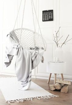 Trendy hanging chair in the living room #HangingChair