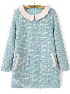 robe avec poches col contrasté -bleu 28.16