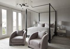 Ave Master Bedroom with four poster bed, modern seating, calming palette Master Bedroom Plans, Bedding Master Bedroom, Dream Bedroom, Bedroom Ideas, Contemporary Bedroom, Modern Bedroom, Cosy House, Four Poster Bed, Floor To Ceiling Windows