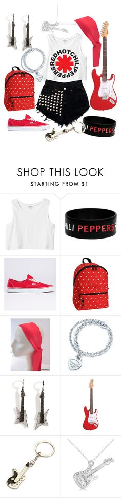 """""""Red Hot Chili Peppers"""" by eirinimaria ❤ liked on Polyvore featuring Monki, Vans, JWorld, Tiffany & Co., Lynn Ban, Encore and Allurez"""