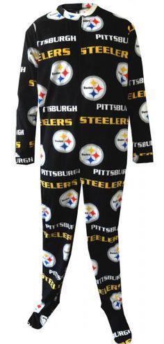 WebUndies.com Pittsburgh Steelers Mens Onesie Footie Black Pajama