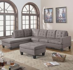 3-Piece Reversible Chaise Sectional Sofa with Ottoman, Grey Charcoal  Features microfiber suede upholstery; Reversible chaise setup for stylish living room setting