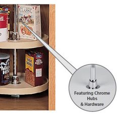 this pantry set includes 5 polymer full circle shelves with an independent rotating system the series features a 52 inch 61 inch telescoping post