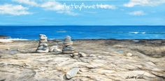 Stone Piles Beach Rock Shore Painting