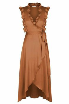 Oro wrap midi dress – mocha - Gray Tutorial and Ideas Dress Outfits, Casual Dresses, Fashion Dresses, Summer Dresses, Pretty Dresses, Beautiful Dresses, Dress Skirt, Dress Up, Flare Dress