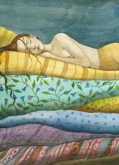 """fairytalemood: """" """"The Princess and the Pea"""" by Capucine Mazille """" Hans Christian, Children's Book Illustration, Botanical Illustration, Digital Illustration, Princess And The Pea, Love Fairy, Fairytale Art, Art Graphique, Chinese Art"""