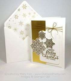 Gorgeous! SU Flurry of Wishes Snow Flurry Punch Gold Foil & printed Vellum Christmas Card Mary Fish Envelope Punch Board