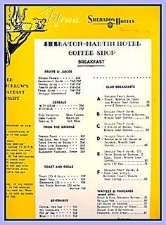 Sheraton-Martin Hotel Coffee Shop, Breakfast Menu 1958