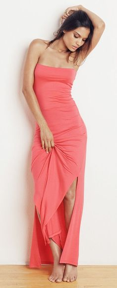 Comfy Sexy Coral Maxi Dress <3 {Can be worn as a skirt also}