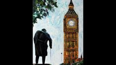 Big Ben and Sir Winston Churchill at Westminster in London Impressionism, Contemporary Impressionism, Fine Art, Canvas, Painting, Art, Westminster