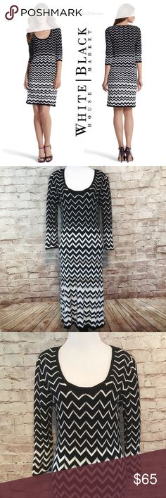 """White House Black Market Chevron Dress Simple silhouette black, white and natural chevron pointelle knit patterned fully lined dress with scooped neckline and 3/4 length sleeves from White House Black Market.  Pullover style with a slightly closer to the body fit. 100% Rayon with Polyester lining. Machine wash in cold water. Lay flat to dry or dry clean. Size Large. Measurements laying flat. Bust 20"""". Waist 18.5"""". Length 45"""". Like new condition no flaws or signs of wear. White House Black…"""