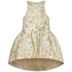 Mischka Aoki 'Most Beautiful' Ivory & Gold Brocade Floral Dress With Swarovski Crystals