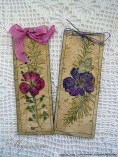 Beautiful pressed flower bookmarks! Love the neutral, muted cardstock base.