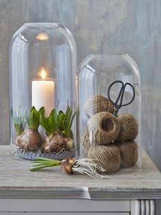 Curate your favourite finds in these bell jars from one of my favourite shops http://www.nordichouse.co.uk K: candle with greenery doesn't work in my head, but the karts would be goon in the sunroom on the bench.