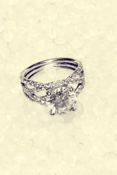 "<3 The 3 cord engagement ring. ""God. Husband. Wife."" Square cushion."