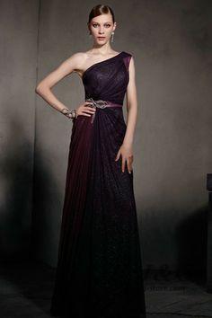 One Shoulder Purple Tencel Shiny Empire Waist Prom Dress 81813