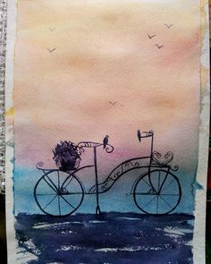 Pencil Art Drawings, Art Sketches, Paint And Sip, Art Challenge, Painted Rocks, Art Inspo, Line Art, Watercolor Paintings, Book Art