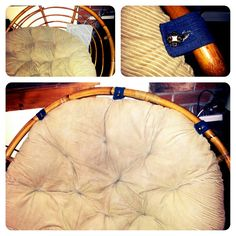 Papasan cushion keep sliding down?  Mine was; even with anti-slip carpet pads (see photo top left.) My bright idea?... Use strong scraps of fabric (I used old jeans)  and some decorative buttons to create frame anchors!
