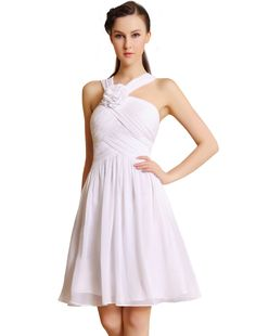 White Ruched Dress #flower #homecoming