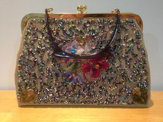 Beaded & Embroidered Floral Purse with Bakelite Handle Handbag