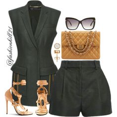 A fashion look from February 2016 featuring white top, pencil skirts and white purse. Browse and shop related looks. Mode Outfits, Short Outfits, Summer Outfits, Fashion Outfits, Womens Fashion, Look Blazer, Blazer And Shorts, Cute Fashion, Look Fashion