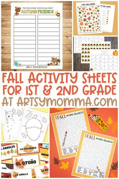 Celebrate Autumn with hands-on and fun Fall Activity Sheets you can print at home or in the classroom. Great for 1st and 2nd grade! #fallactivities #printablesforkids #artsymommadotcom
